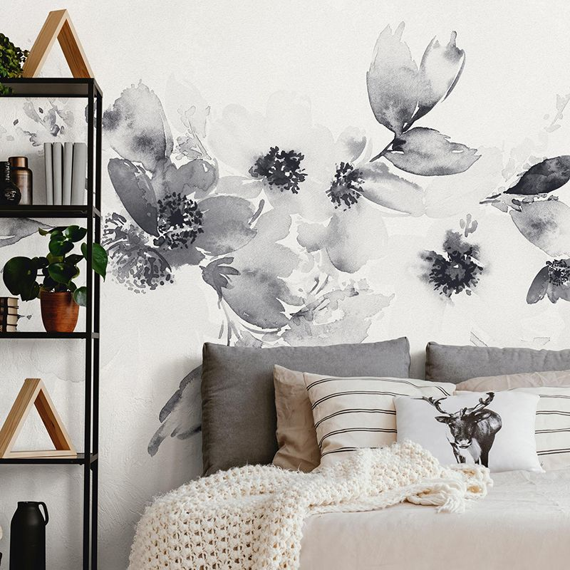 Watercolor Floral Band Mural Wall Art Wallpaper - Black & White - Peel and Stick