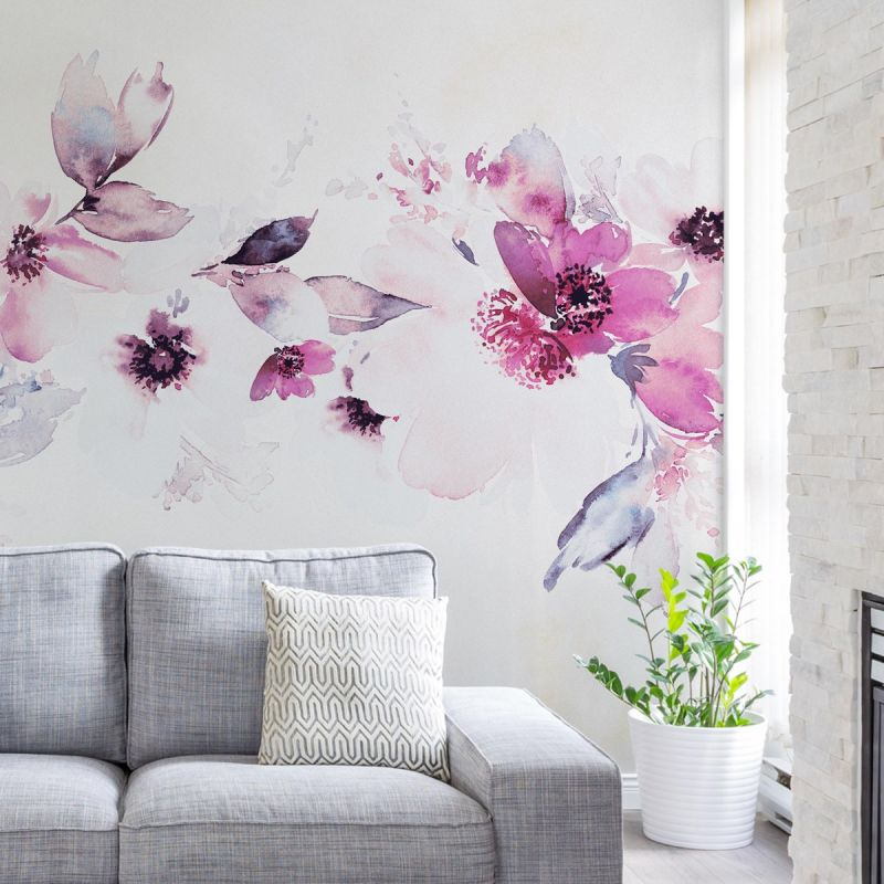 Watercolor Floral Band Mural Wall Art Wallpaper - Peel and Stick