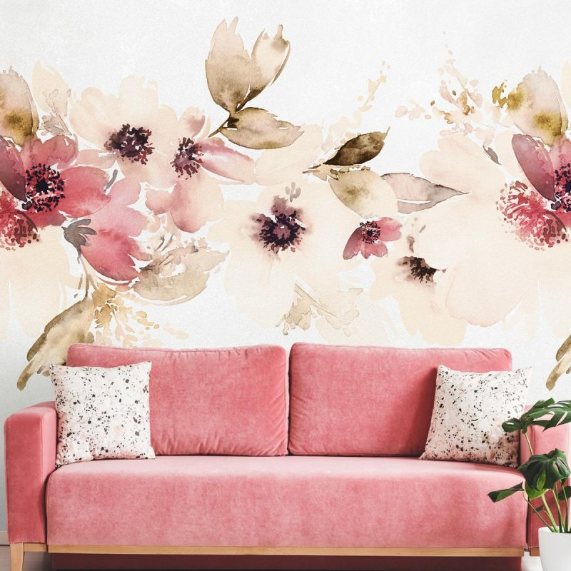 Watercolor Floral Band Mural Wall Art Wallpaper - Red - Peel and Stick