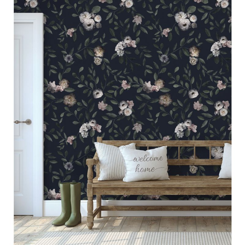 Dark Floral Mural Wallpaper - Dark