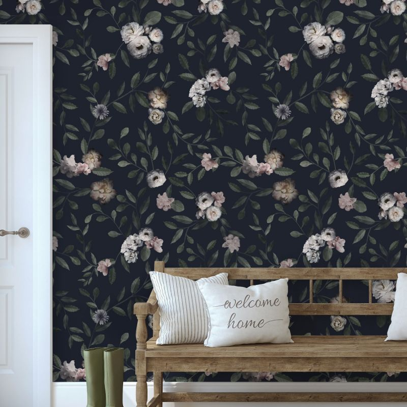 Dark Floral Mural Wallpaper Floral Wall Art Peel And Stick Wall Mural