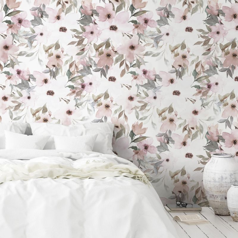 Watercolor Flowers Mural Wallpaper - Pale Pink Sage