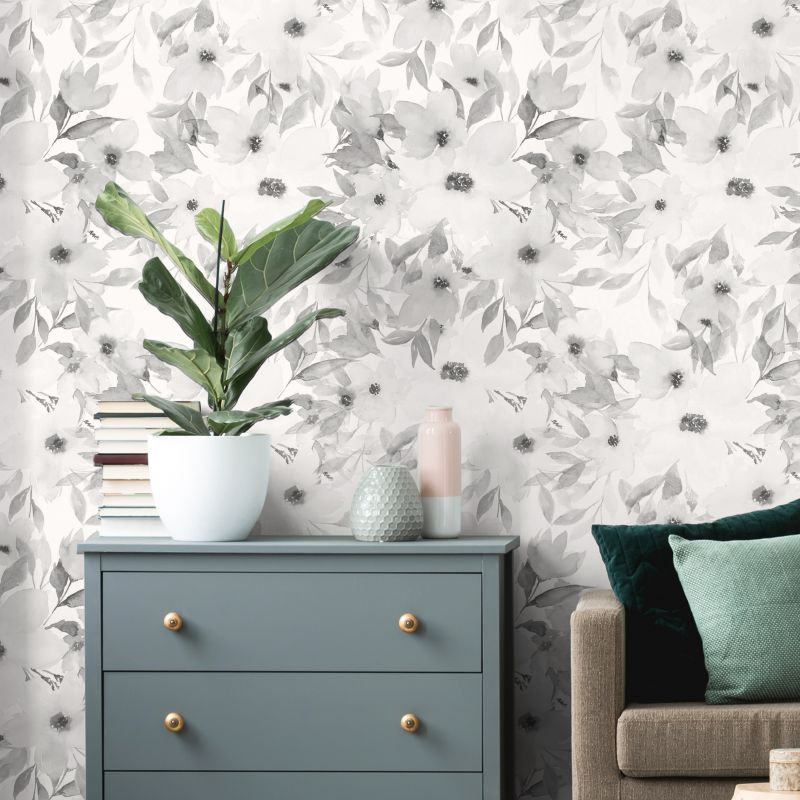 Watercolor Flowers Mural Wallpaper - BW