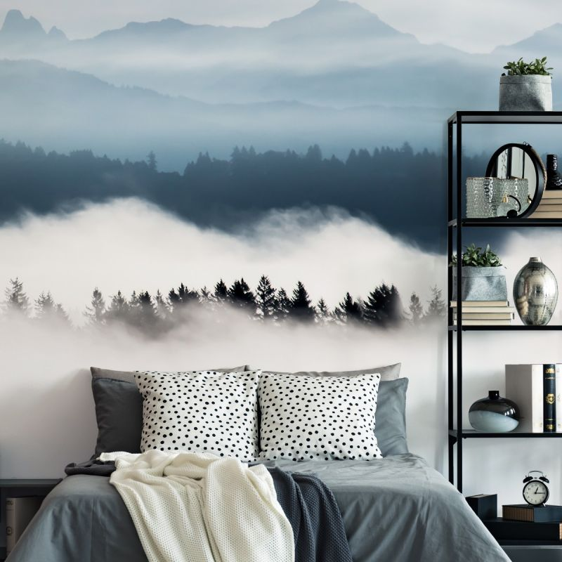 Horizon Mountains Peel and Stick Mural - Grayish Blue