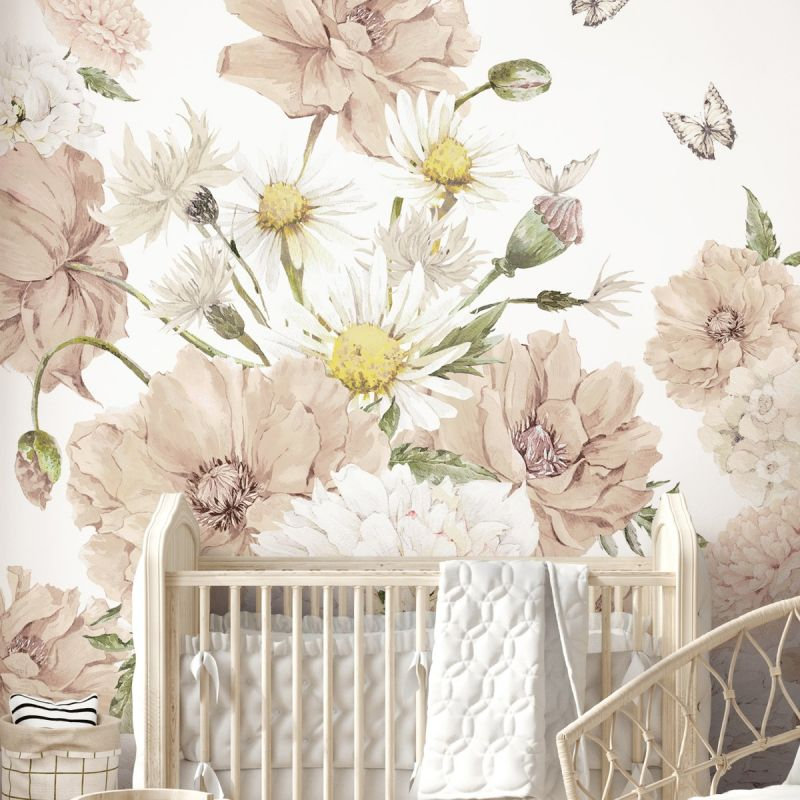 Vintage Meadow Floral Peel and Stick Mural