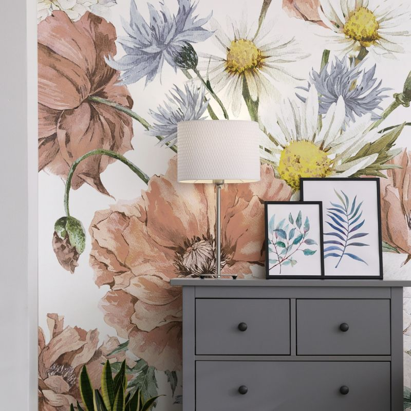 Vintage Meadow Floral Peel and Stick Mural - Coral Blue