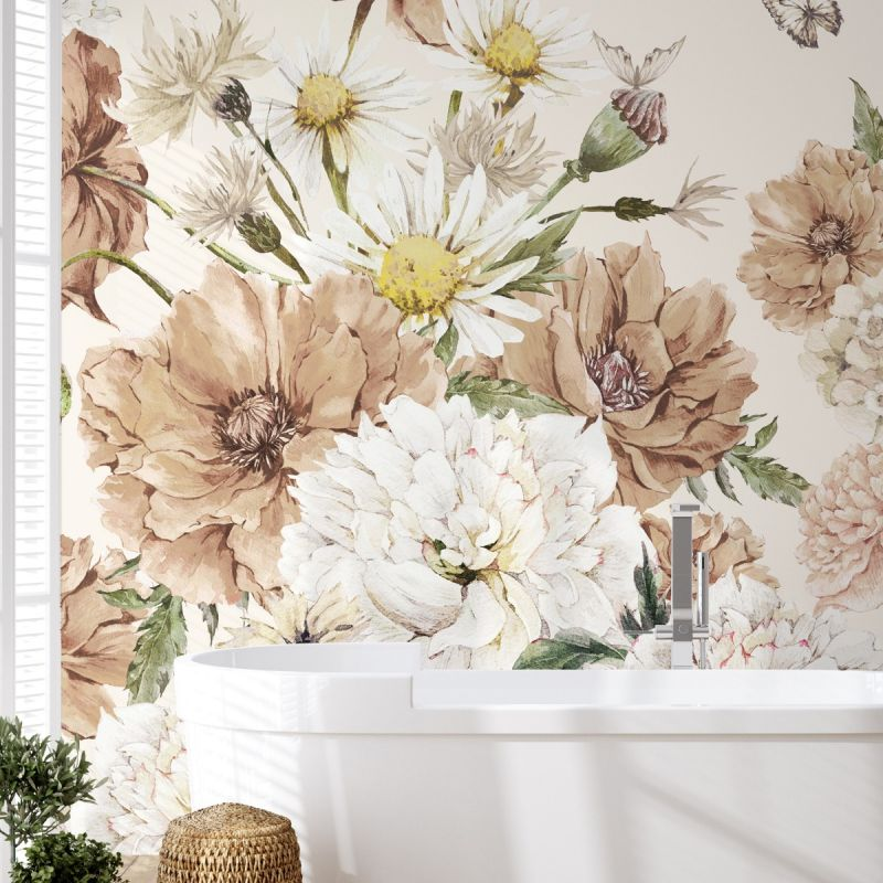 Vintage Meadow Floral Peel and Stick Mural - French Rose