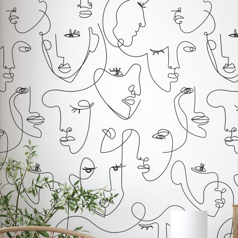 Minimalist Face Line Art Mural Wallpaper - Peel and Stick