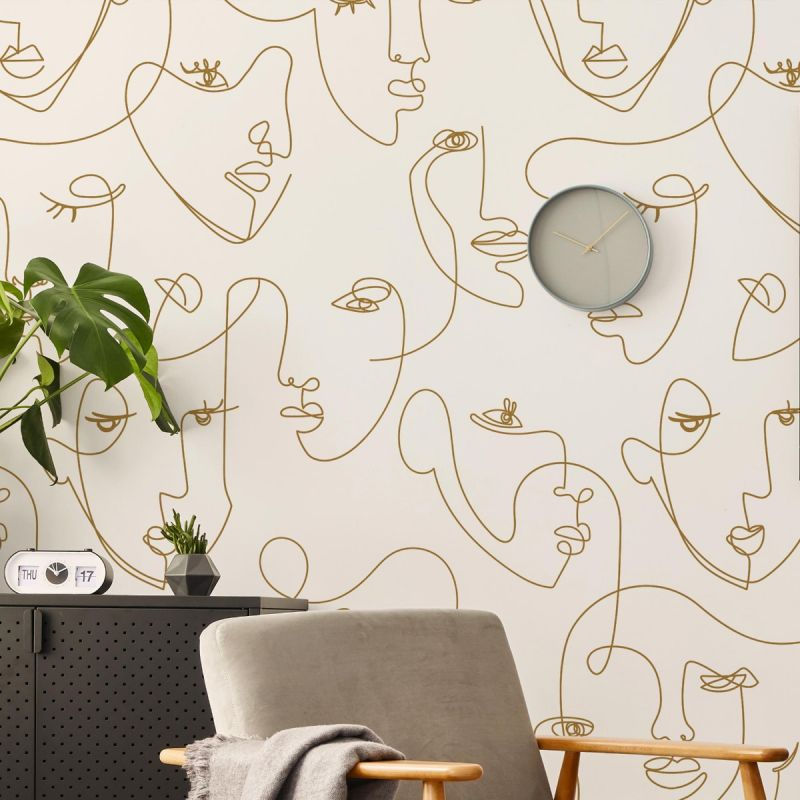 Minimalist Face Line Art Mural Wallpaper - Peel and Stick - Gold - 96
