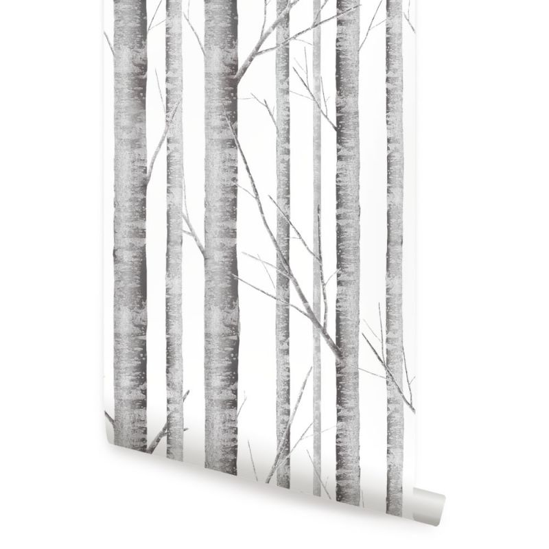 Birch Tree Wallpaper - Grey