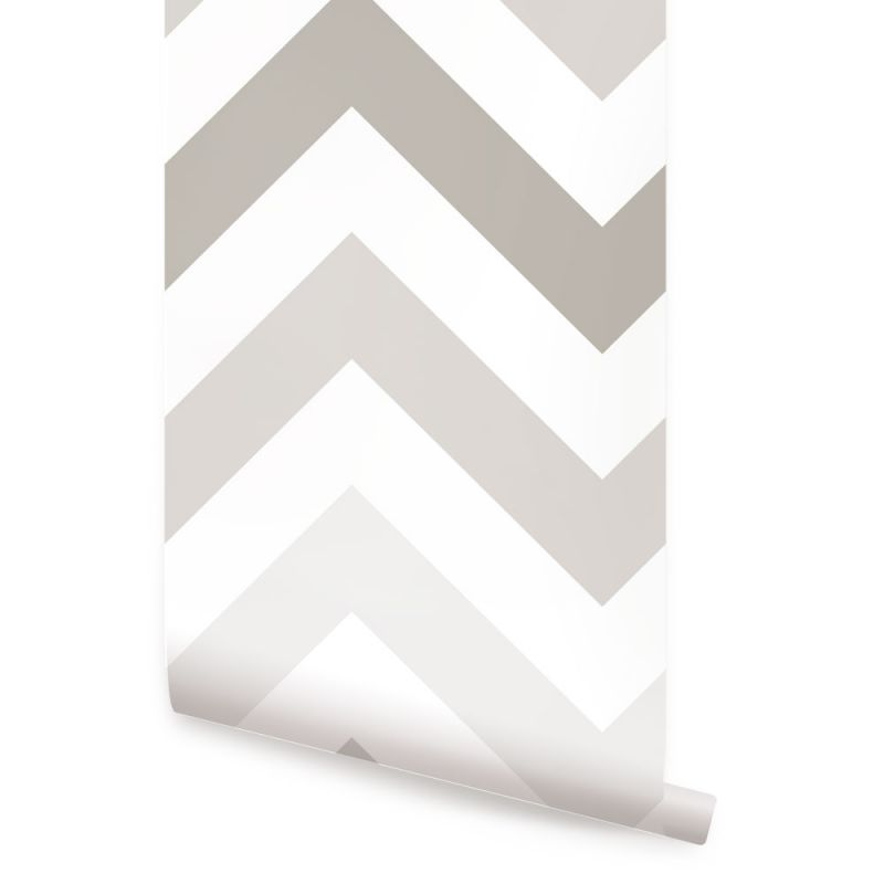 Chevron Wallpaper - Warm Grey