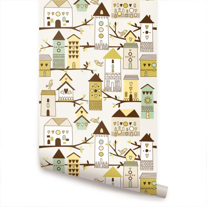 Birdhouse Wallpaper - Green