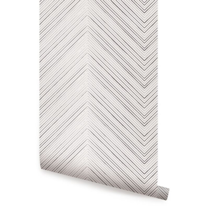 Chevron Lines Wallpaper - Grey