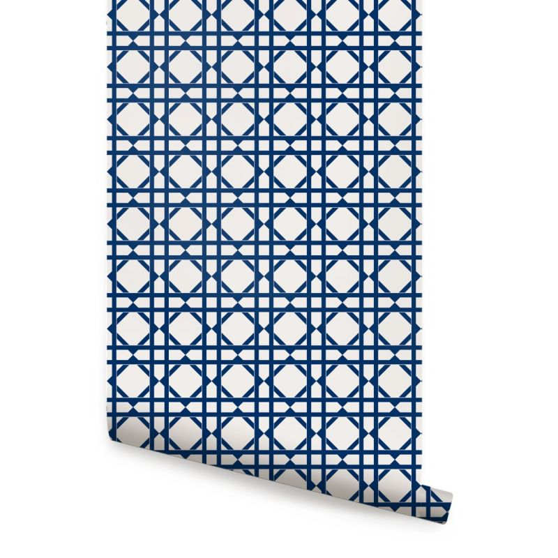 Geometric Wallpaper - Bright Navy