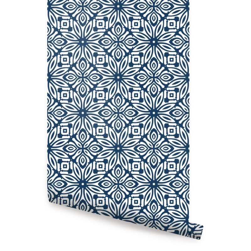 GeoFlower Wallpaper - Navy