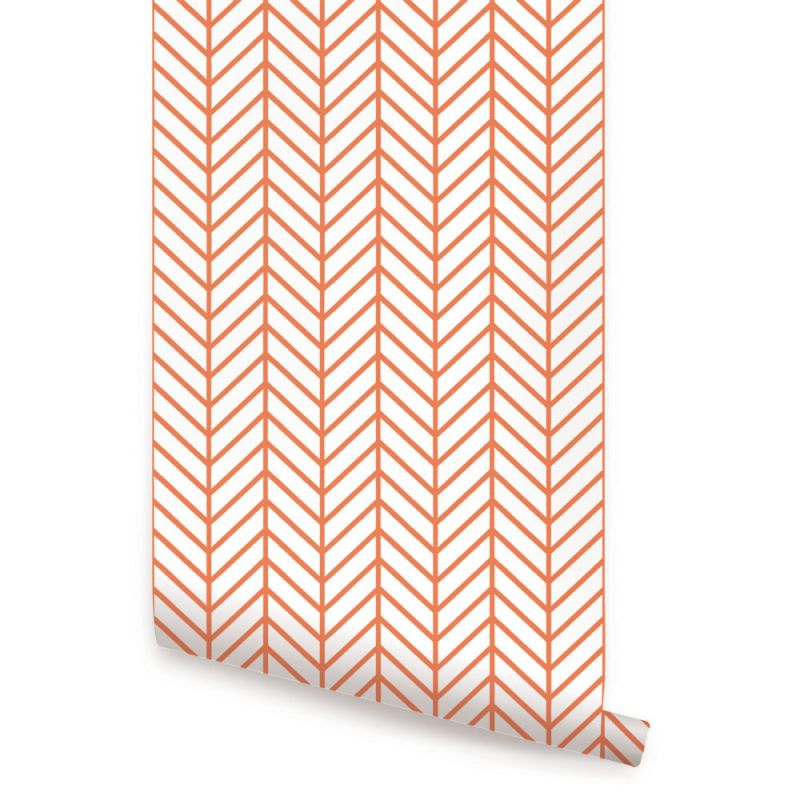 Herringbone Line Wallpaper - Orange