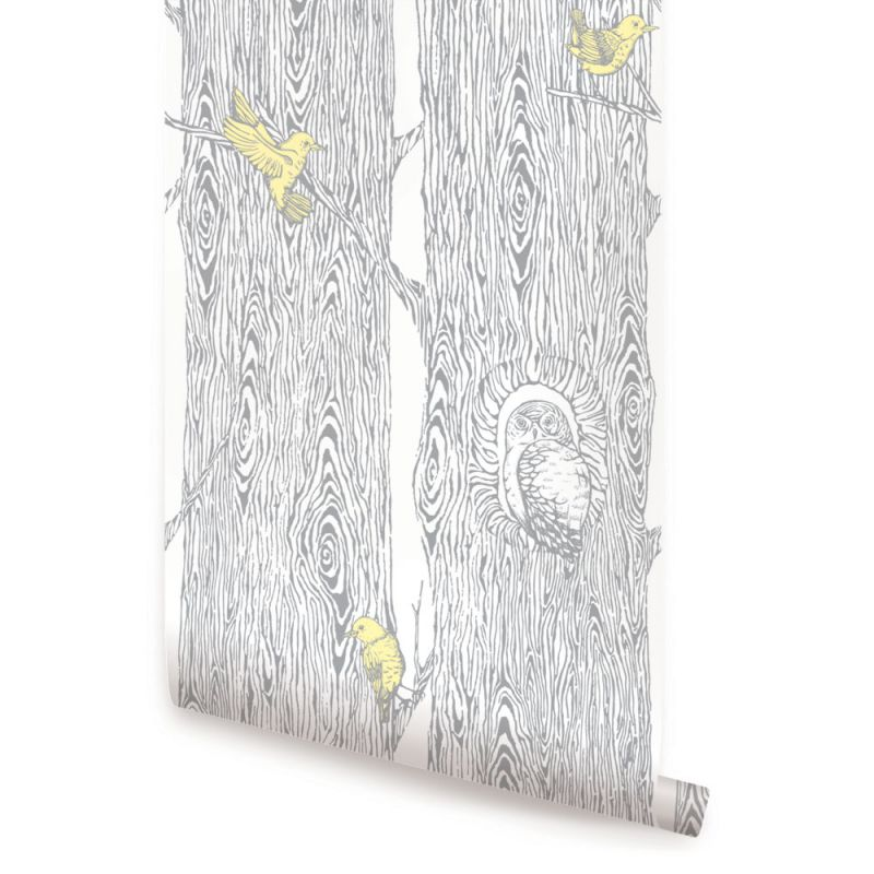 Forest Wallpaper - Cool Grey / Yellow