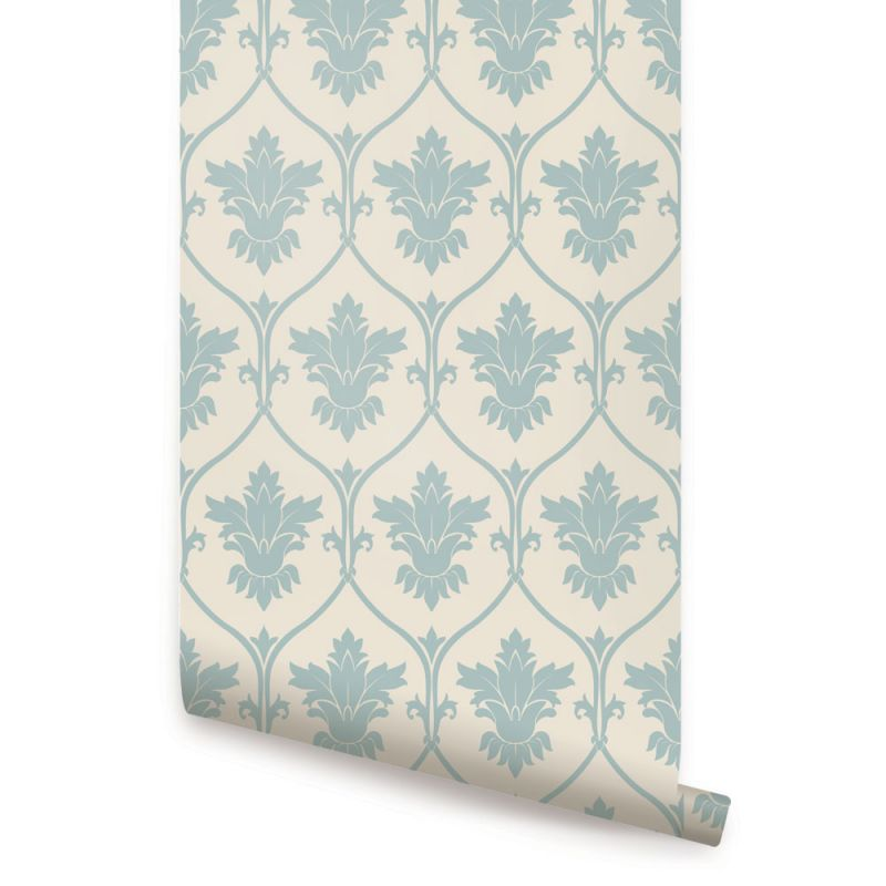 Damask Wallpaper - Dusky Blue