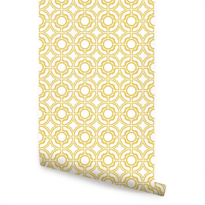 Daisy Wallpaper - Custard Yellow