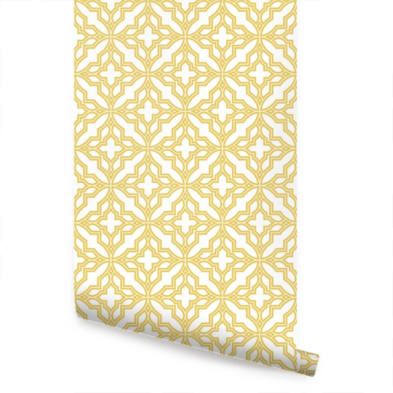 Diamond Flower Wallpaper - Custard Yellow