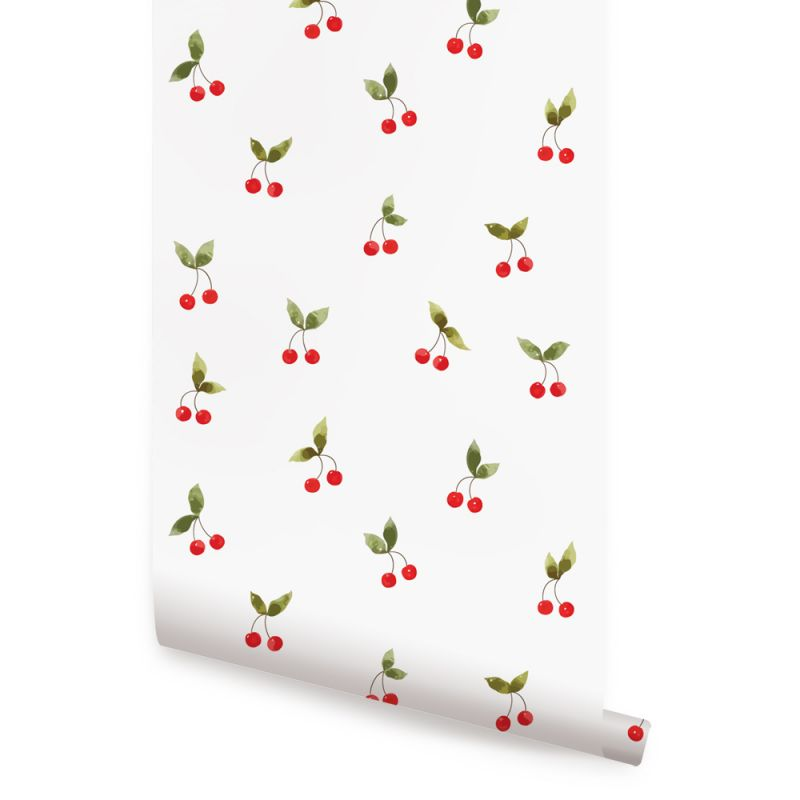Cherries Patch Wallpaper - Red