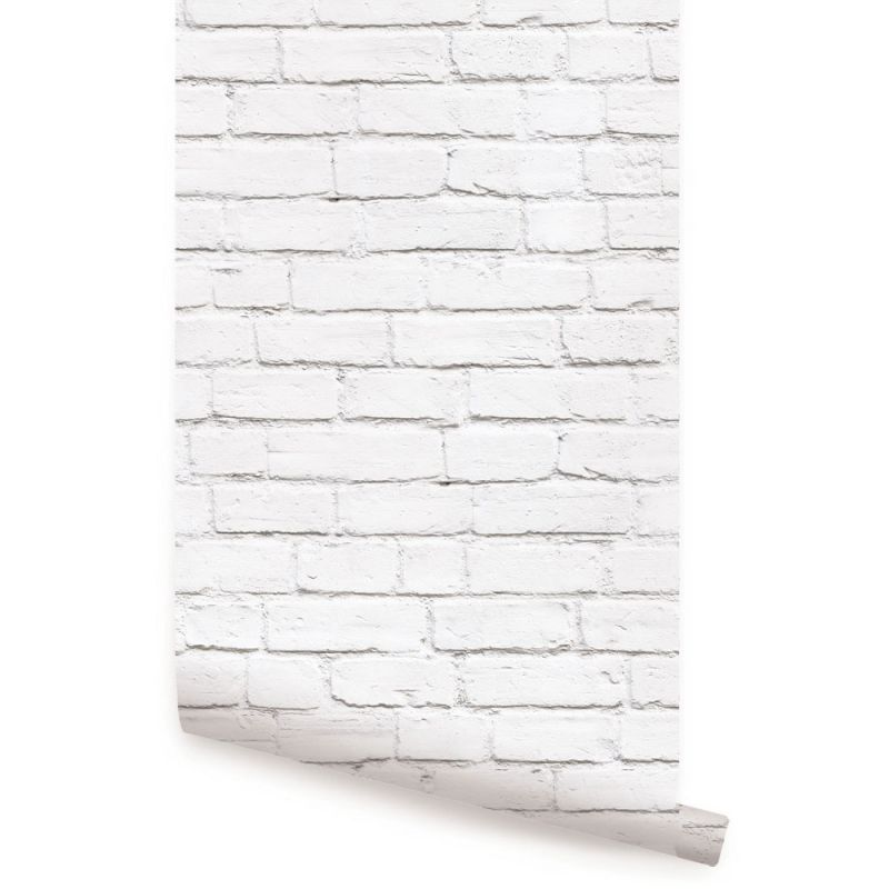 Modern Clean Look Brick Wallpaper - White