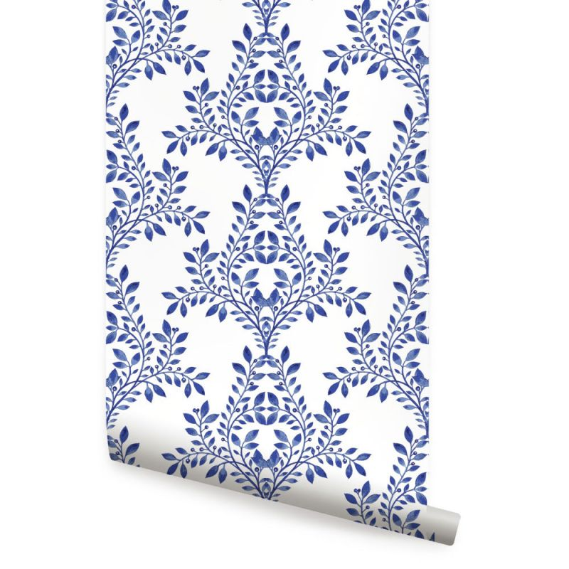 Royal Blue Damask Leaves Wallpaper