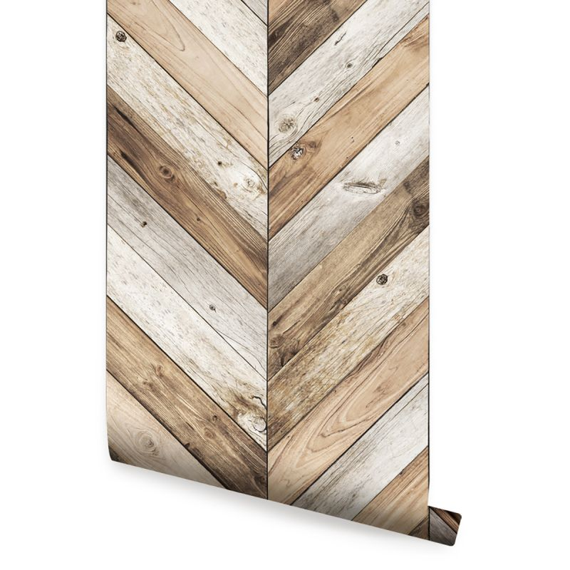 Chevron Wood Peel and Stick Wallpaper - Original