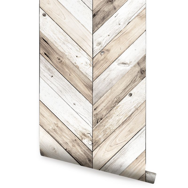 Chevron Wood Peel and Stick Wallpaper - Light