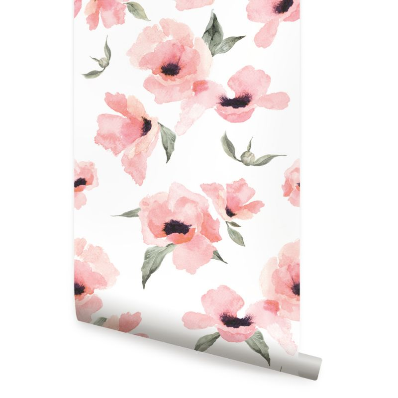 Watercolor Poppy Flowers Peel and Stick Wallpaper