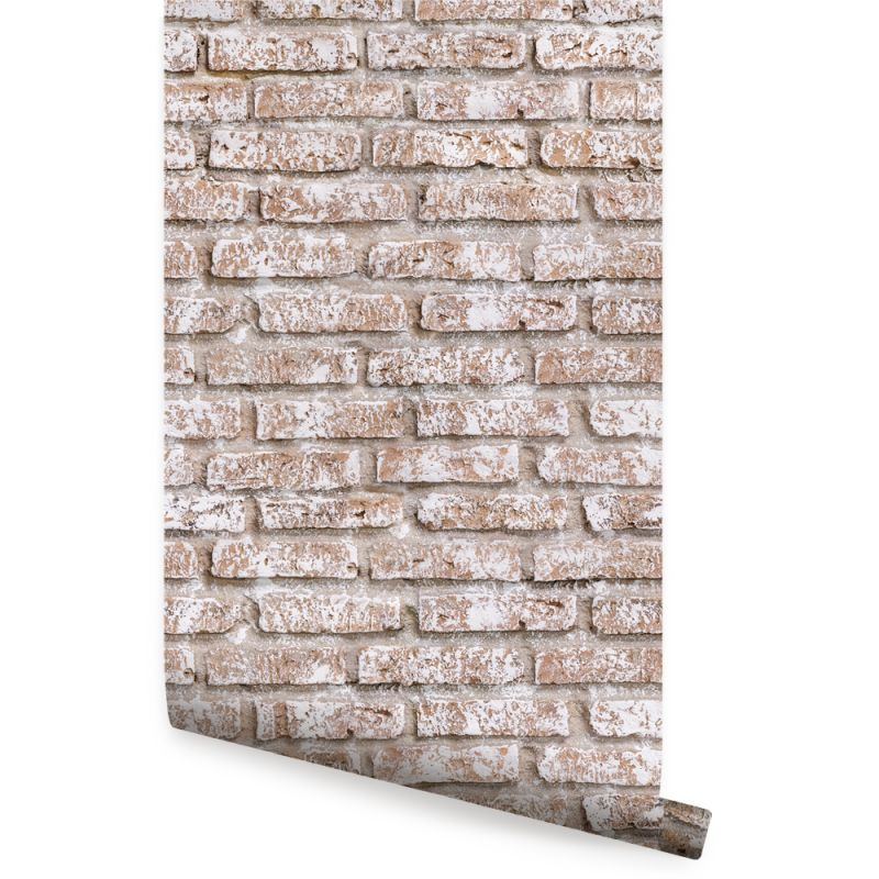 Whitewashed Brick Peel and Stick Wallpaper-Vintage