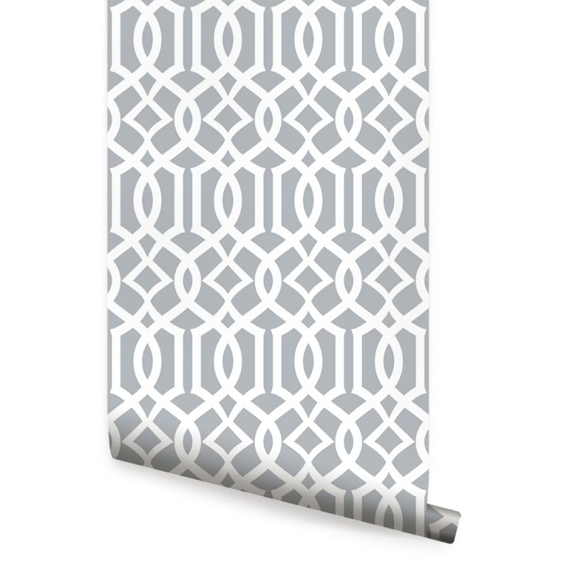 Modern Trellis Wallpaper - Dark Cool Grey