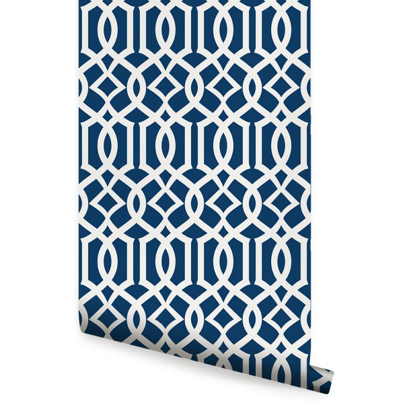 Modern Trellis Wallpaper - Navy