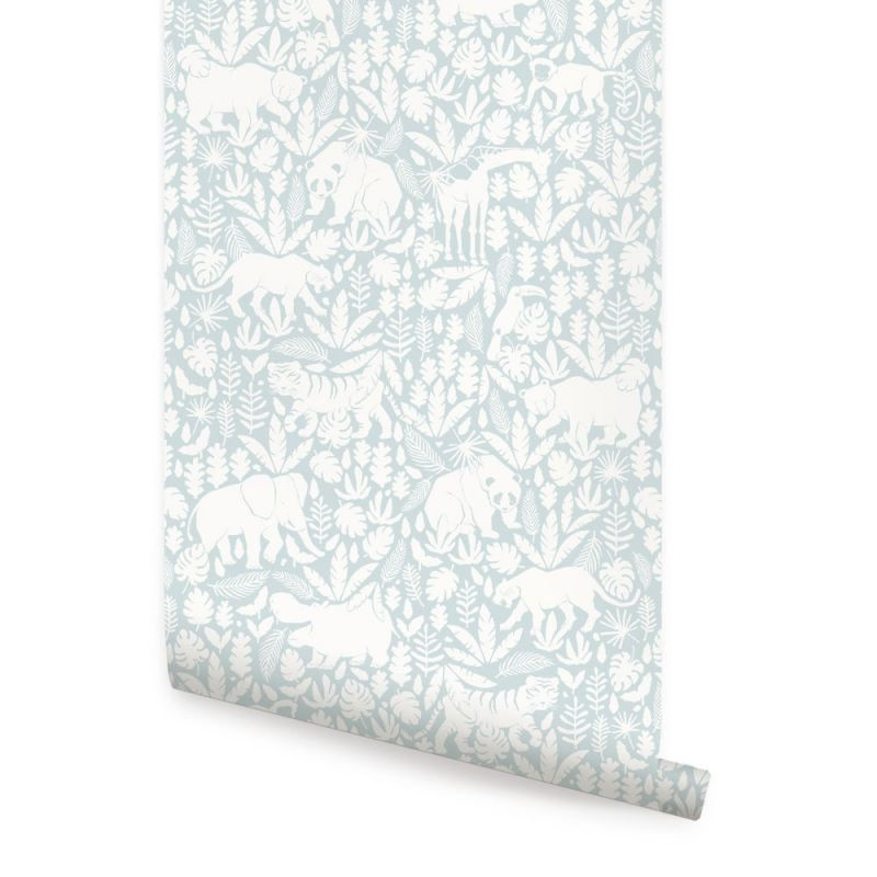 Jungle Animals Wallpaper- Light Blue