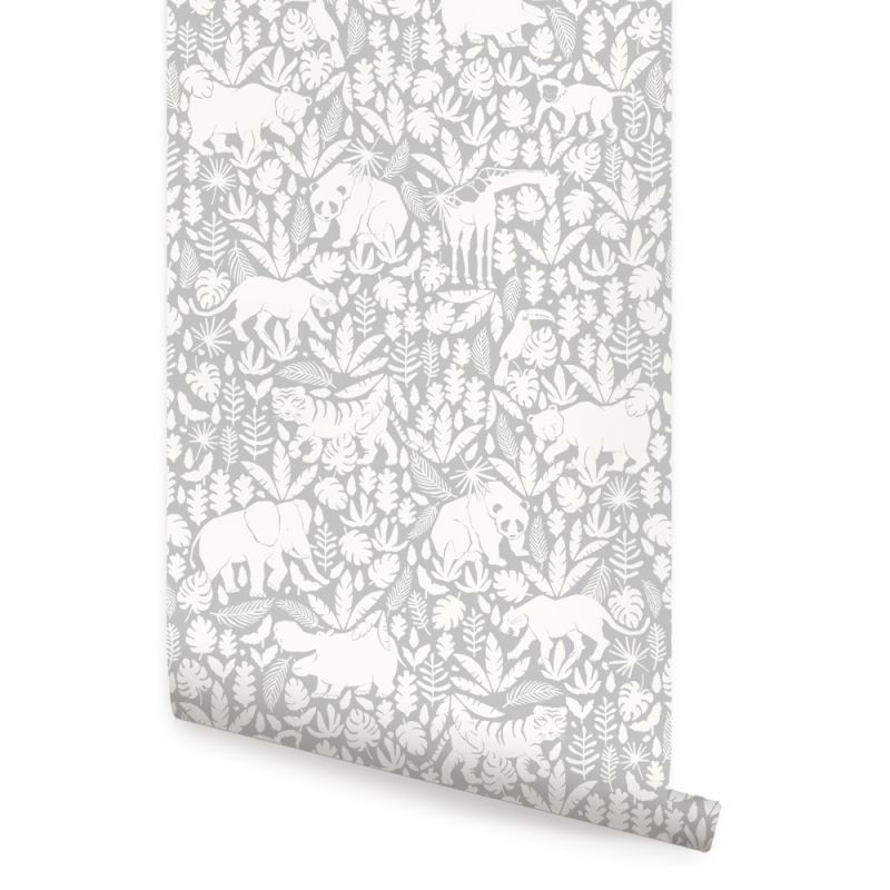 Jungle Animals Wallpaper - Cool Grey - Peel and Stick