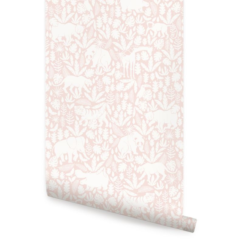 Jungle Animals Wallpaper - Soft Pink - Peel and Stick