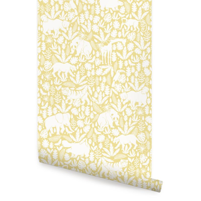Jungle Animals Wallpaper - Yellow - Peel and Stick