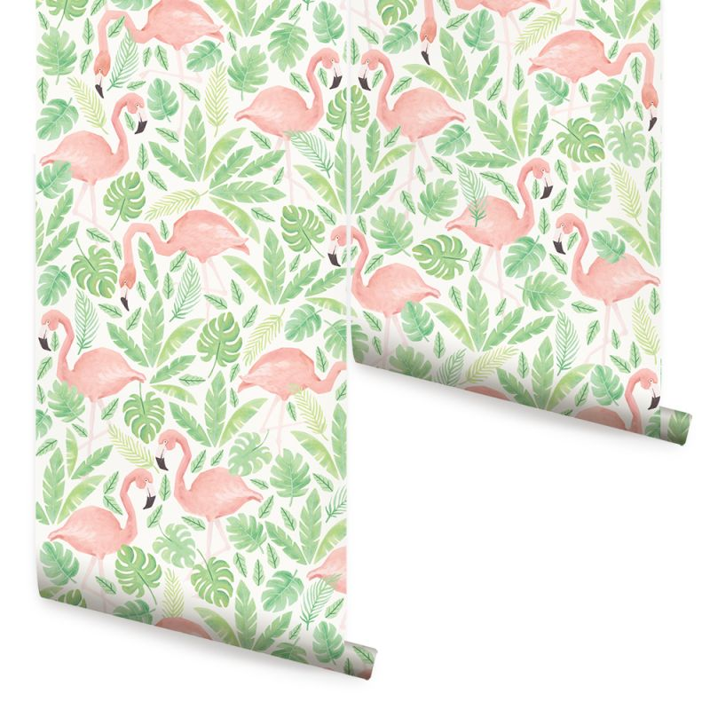 Tropical Flamingo Wallpaper - Coral
