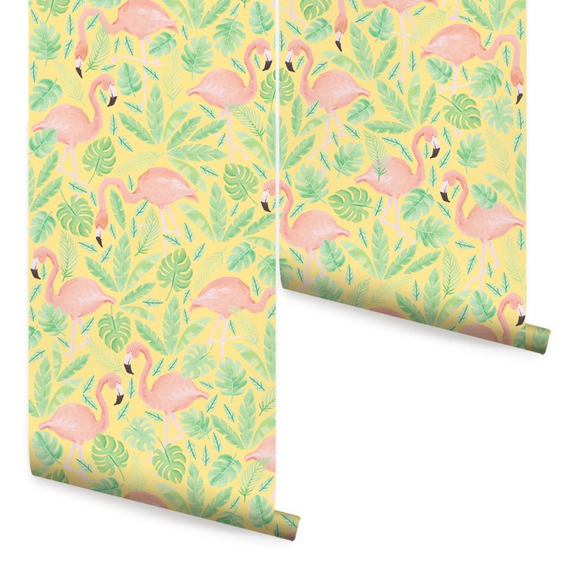 Tropical Flamingo - Coral Yellow - Peel & Stick Fabric Wallpaper