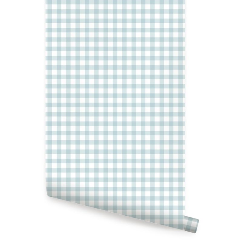 Gingham Check Pattern Peel and Stick Wallpaper - Dusky Blue