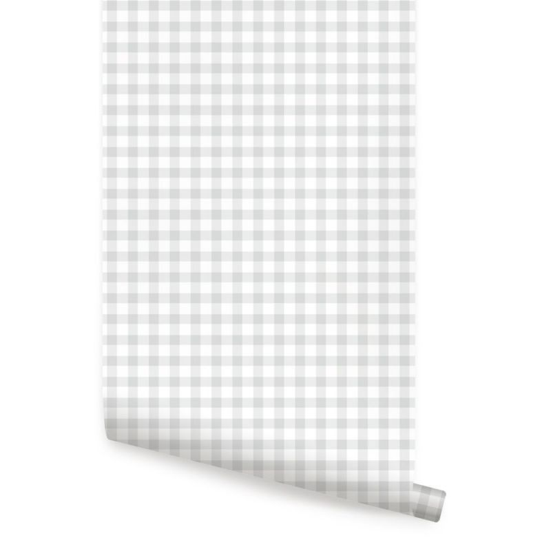 Gingham Check Pattern Peel and Stick Wallpaper - Grey