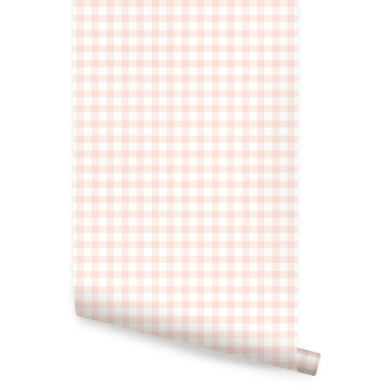 Gingham Check Pattern Peel and Stick Wallpaper - Pale Pink