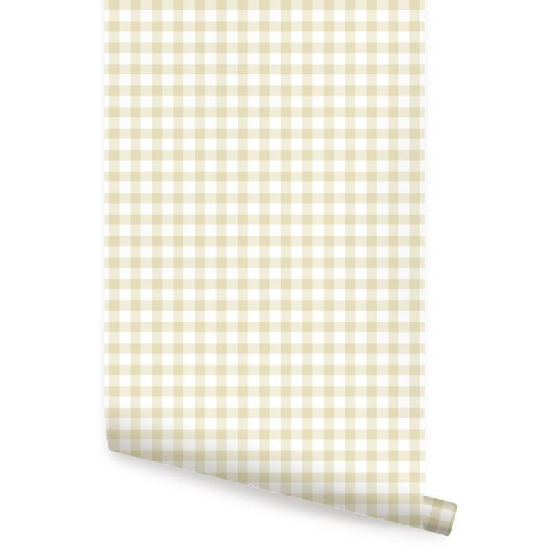 Gingham Check Pattern Peel and Stick Wallpaper - Honey Wheat