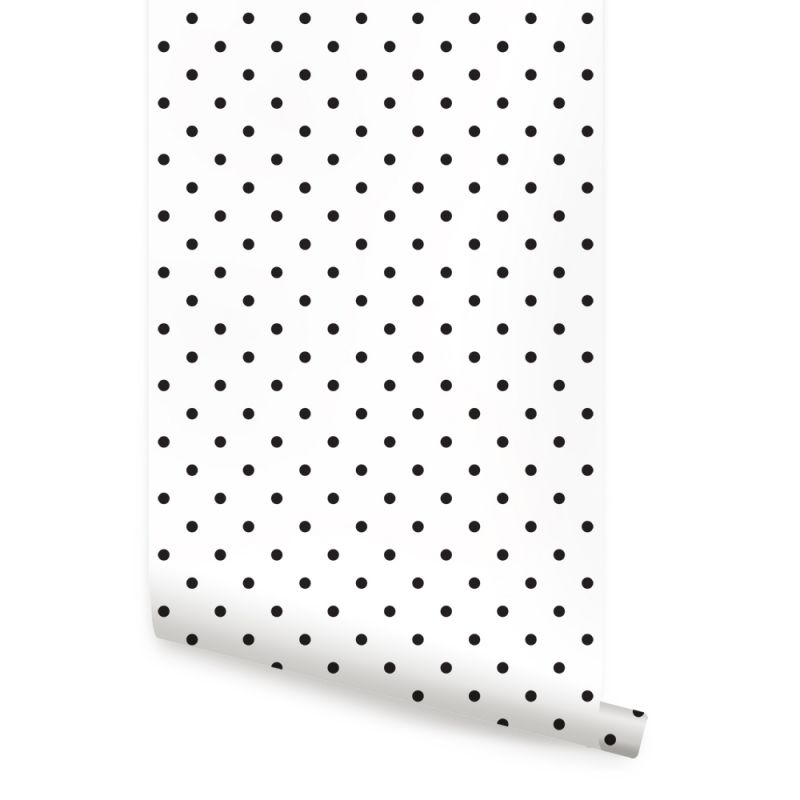 Small Polka Dots Wallpaper - Black and White