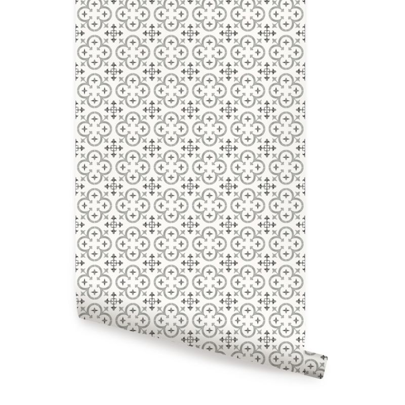 Flower Moroccan Tile Wallpaper - Grey