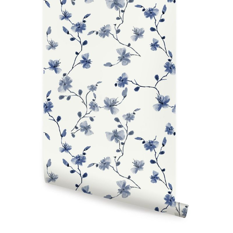 Blue Petal Climbing Flower Peel and Stick Wallpaper