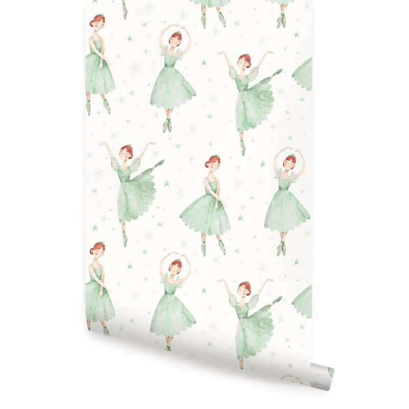 Ballerina Peel and Stick Fabric Wallpaper - Green