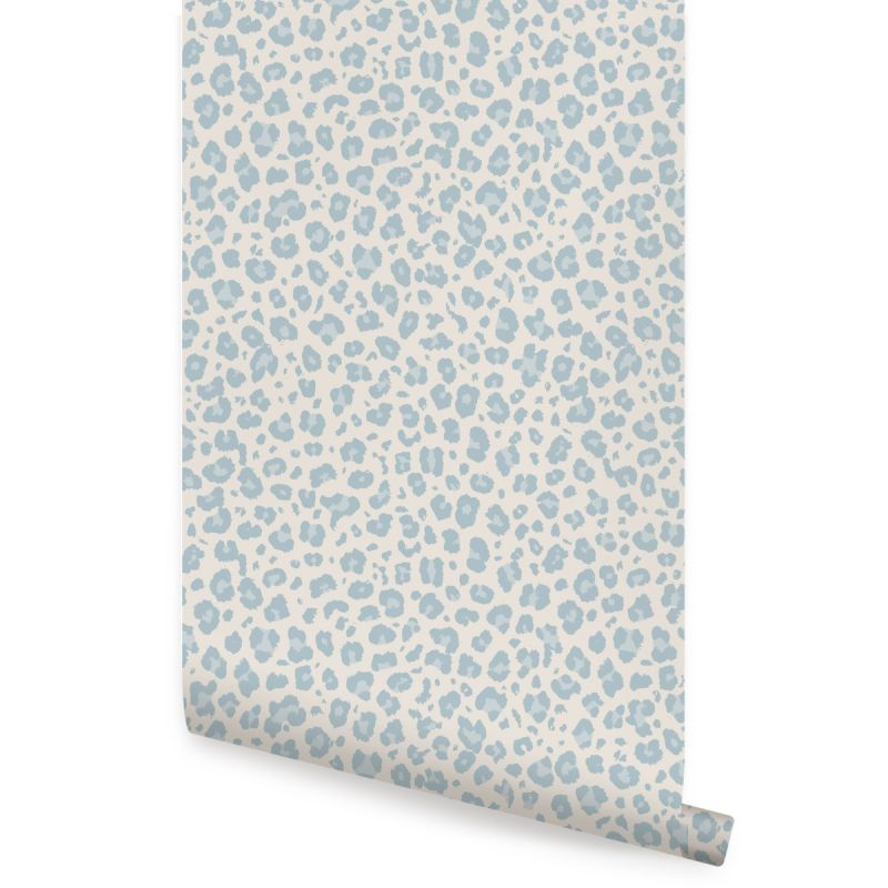 Animal Print Leopard Peel and Stick Wallpaper - Light Blue