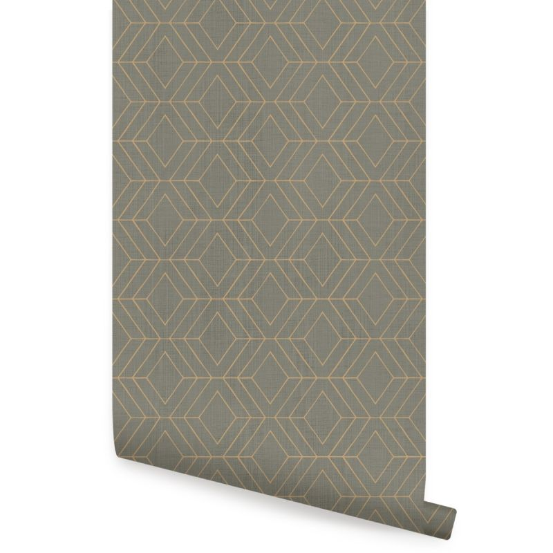 Diamond Geometric Art Deco Lines Peel and Stick Wallpaper - Dark Olive