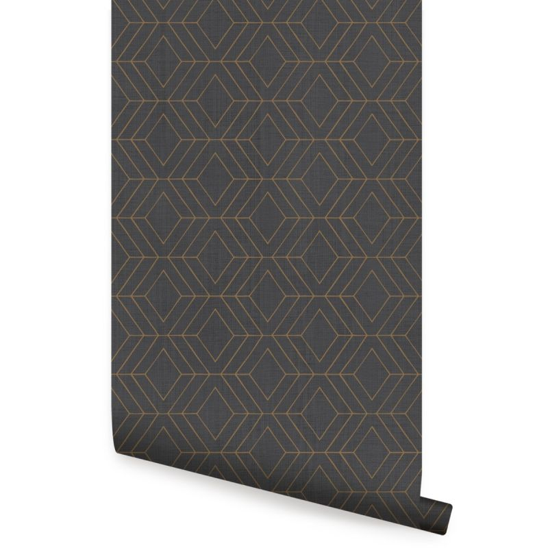 Diamond Geometric Art Deco Lines Peel and Stick Wallpaper - Ebony